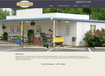 web design for Classic Exterior of Longview