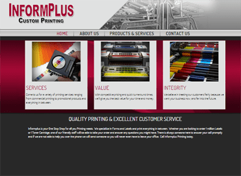 web design for InformPlus Custom Printing