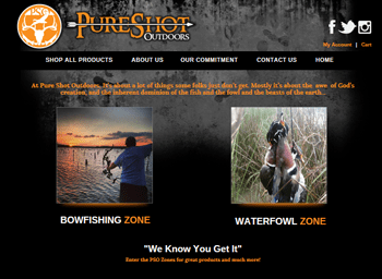 web design for Pure Shot Outdoors