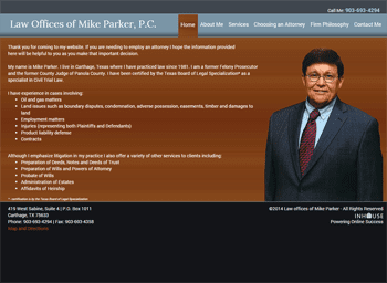 web design for Mike Parker, Attorney at Law