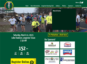 web design for Half Marathon Longview
