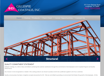 web design for Gillespie Coatings, Inc.