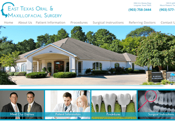 web design for East Texas Oral and Maxillofacial Surgery Associates