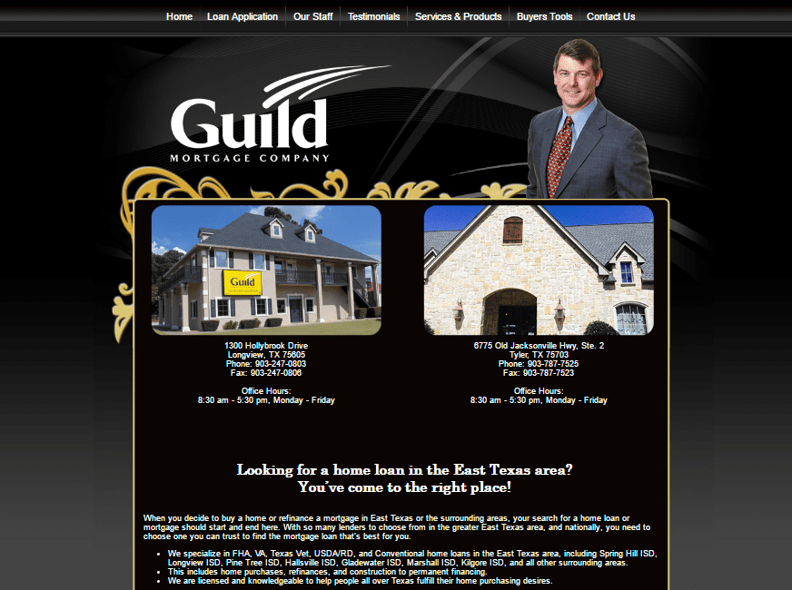 web design for Tom Holyfield, Guild Mortgage Company
