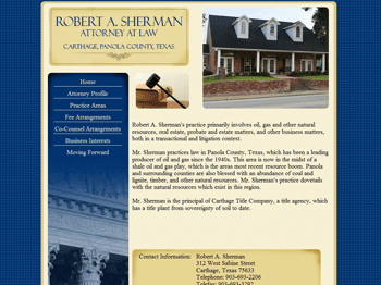web design for Robert A. Sherman, Attorney at Law