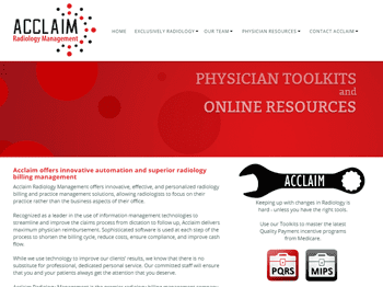 web design for Acclaim Radiology Management