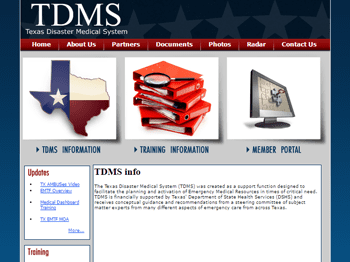 web design for Texas Disaster Medical System (TDMS)