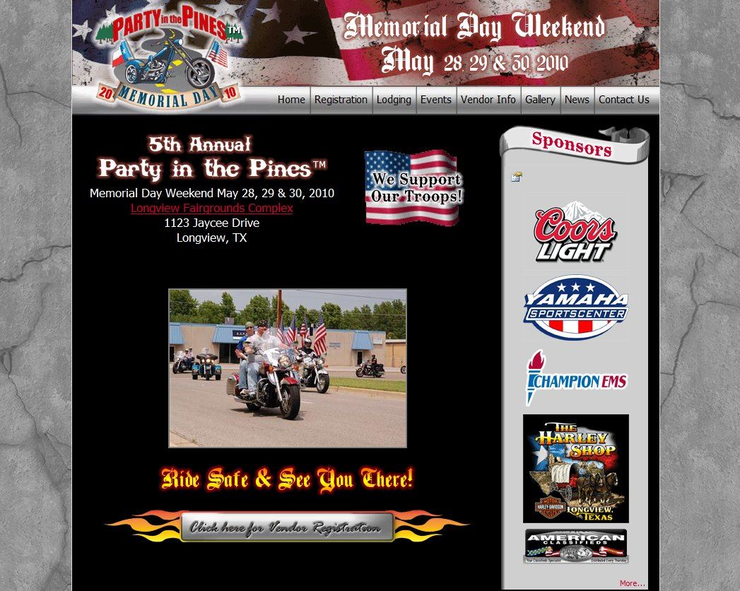 web design for League of Business Owners - Party in the Pines Motorcycle Rally
