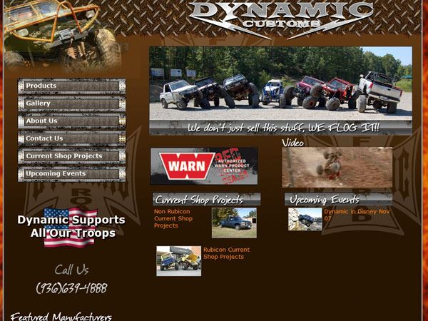 web design for Dynamic Customs & Off-Road Shop