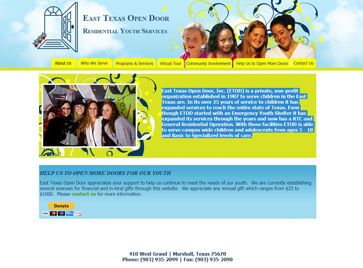 web design for East Texas Open Door