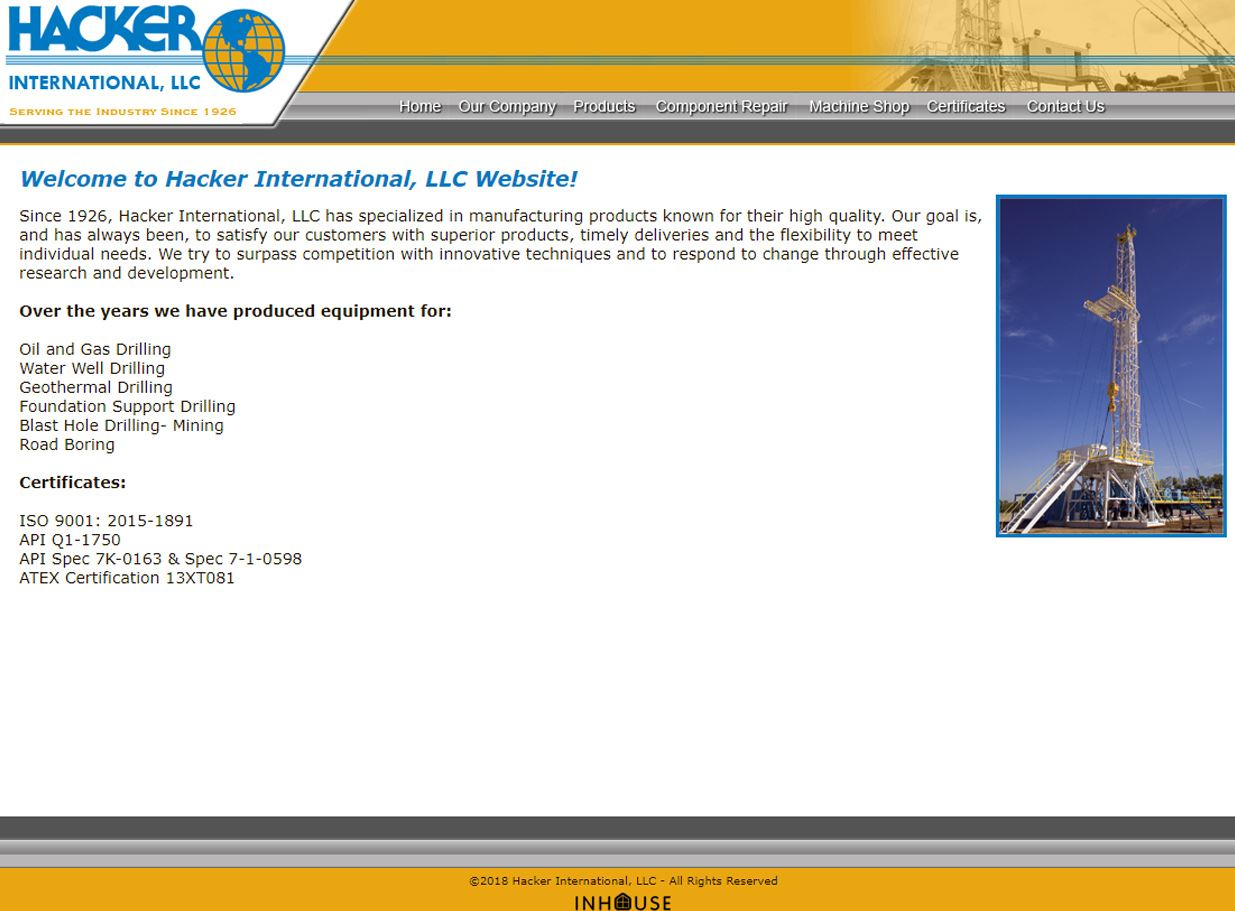 web design for Hacker International, LLC
