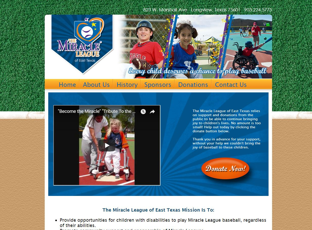 web design for The Miracle League of East Texas