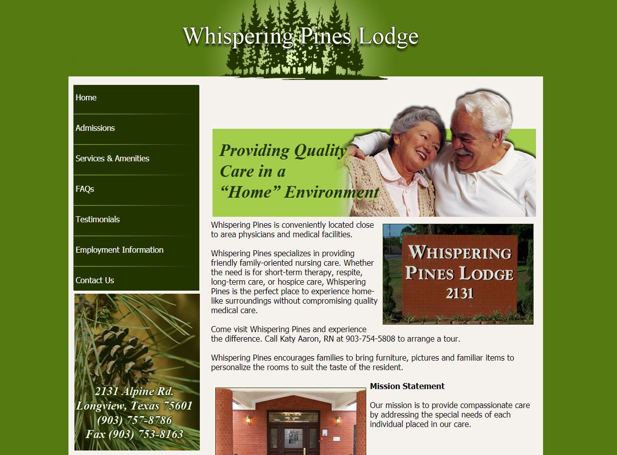 web design for Whispering Pines Lodge